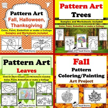 Elementary, Fall, Pattern Art Project Bundle, Classroom Display
