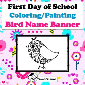 First Day of School Activity/Back to School, Coloring/Painting, Bird Name Banner