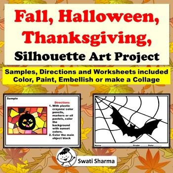 Fall, Halloween, Thanksgiving, Silhouette Art Project, Sub Plan