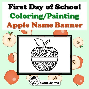First Day of School Activity, Apple Name Banner, Pattern Coloring