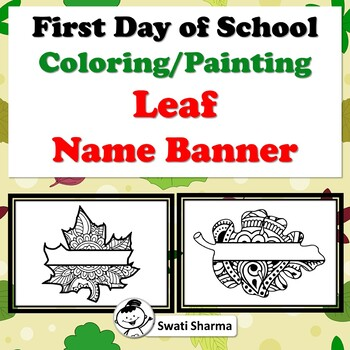 First Day of School Activity, Fall, Spring, Leaf, Name Banner, Pattern Coloring