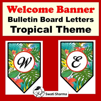 Welcome, Tropical Theme, Bulletin Board Letters, Pennant Banner
