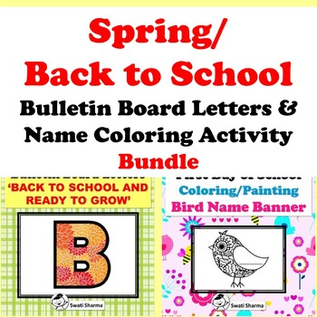 Spring/Back to School Bulletin Board Letters, Bird Name Coloring, Bundle