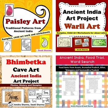 Ancient India Art projects and Food Word Search Bundle