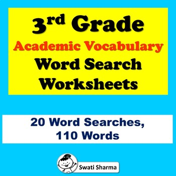 3rd Grade Academic Vocabulary, Word Search Worksheets