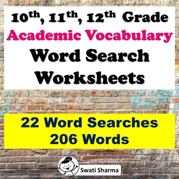 10th, 11th, 12th Grade Academic Vocabulary Word Search Worksheets