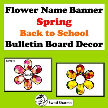 Flower Name Banner, Spring, Back to School, Bulletin Board Decor