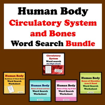 Human Body Circulatory System and Bones, Word Search Bundle