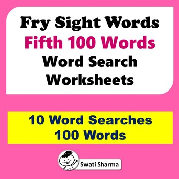 Fry Sight Words, Fifth 100 Words, Word Search Worksheets