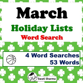 March Holiday Lists, Word Search Worksheets