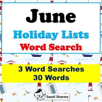 June Holiday Lists, Word Search Worksheets