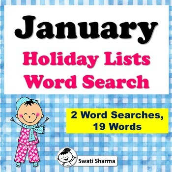 January Holiday Lists, Word Search Worksheets