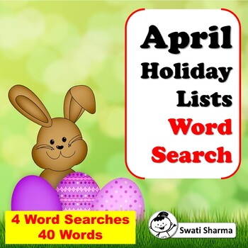 April Holiday Lists, Word Search Worksheets