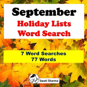 September Holiday Lists, Word Search Worksheets