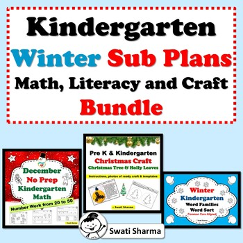Kindergarten Winter Sub Plans, Math, Literacy and Craft Bundle