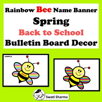 Rainbow Bee Name Banner, Back to School, Bulletin Board Decor