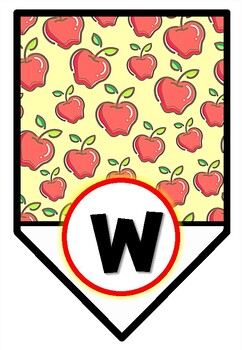Apple Theme, 'Welcome' Pennant Banner, Bulletin Board Letters Set 3
