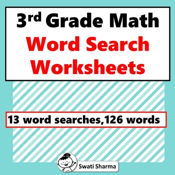 3rd Grade Math Vocabulary, Word Search Worksheets