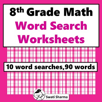 8th Grade Math, Word Search Worksheets