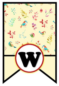 Spring, Bird Theme, 'Welcome' Pennant Banner, Bunting, Bulletin Board Letters