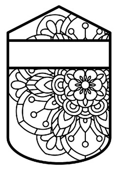 Pennant Bulletin Board Name Banner, Mandala Style, Pattern Coloring, Set 4