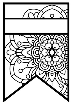 Pennant Bulletin Board Name Banner, Mandala Style, Pattern Coloring, Set 6