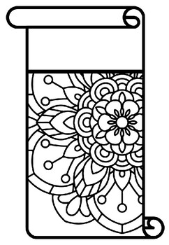 Scroll Style Pennant, Name Banner, Mandala Style, Pattern Coloring, Set 7