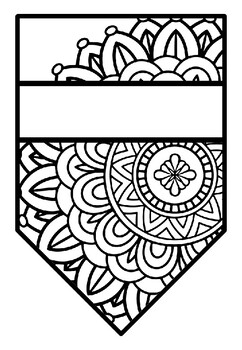 Pennant Bulletin Board Name Banner, Mandala Style, Pattern Coloring, Set 15