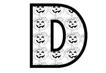 Halloween Pumpkins, Blackline, A to Z, 0 to 9, Bulletin Board Letters, Numbers,