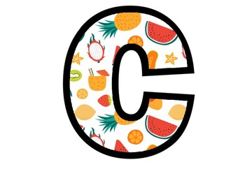 Summer Fruits, A to Z, 0 to 9, Bulletin-Board Letters Numbers, Classroom Display