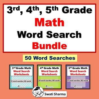 3rd, 4th, 5th Grade Math Vocabulary, Year Long, Word Search Bundle