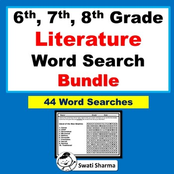 6th, 7th, 8th Grade Literature Vocabulary, Year Long, Word Search Bundle