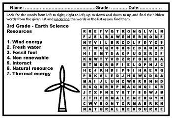 3rd Grade Science, Year Long, Word Search Worksheets, No Prep, Sub Plan