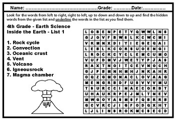 4th Grade Science Mega Word Search Worksheets, No Prep Science Literacy Sub Plan