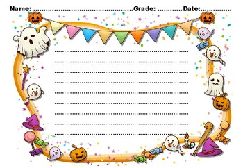 HALLOWEEN Writing Paper, Set 2, Fall Sub Plan