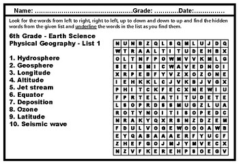 6th Grade Science Vocabulary, Word Search Worksheets, Year Long No Prep Sub Plan