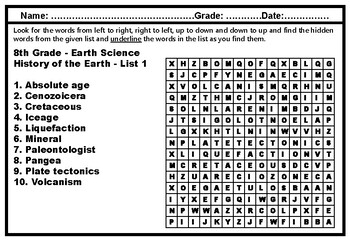 8th Grade Year Long Science, Word Search Worksheets, Science Sub Plans