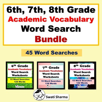 6th, 7th, 8th Grade Academic Vocabulary Word Search Bundle, Yearlong Vocabulary