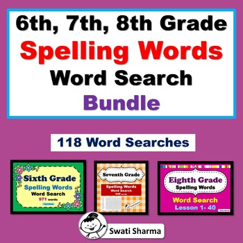 6th, 7th, 8th Grade Spelling Words Word Search Bundle, Vocabulary Sub Plan