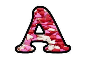 Hearts Valentine's Day Bulletin Board Letters, Numbers, Symbols, Classroom Decor