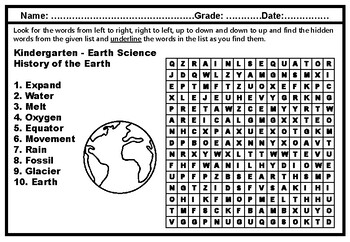 Kindergarten Science, Year Long, Word Search Worksheets, Vocabulary Sub Plans