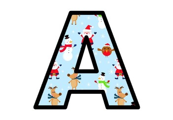 Christmas, Santa, Bulletin Board Letters, Decor, A-Z, a-z, 0-9, Punctuation