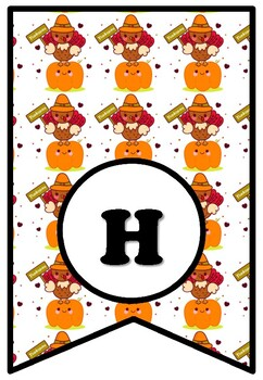 Happy Thanksgiving, Bulletin Board Sayings Pennant Letters, Turkey Decor, Fall