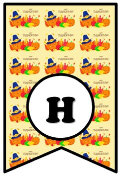 Happy Thanksgiving, Bulletin Board Sayings Pennant Letters, Printable Banner