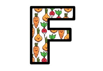 Cute Root Vegetables, Bulletin Board Letters, Food and Nutrition Alphabet Decor