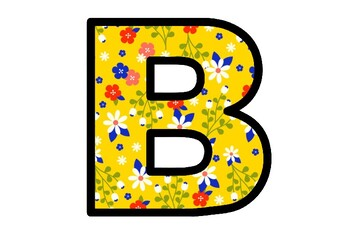 Spring, Yellow, Floral Bulletin Board Letters, Alphabet Posters School Decor