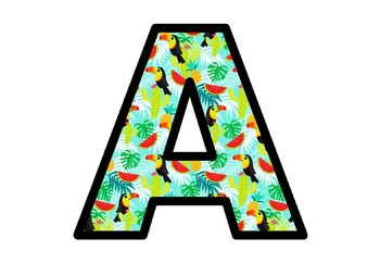 Tropical, Toucan, Summer Fruit, Bulletin Board Letters, School Decor Printables