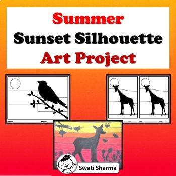 Fall, Summer Art Project Sunset Silhouettes, Set 1