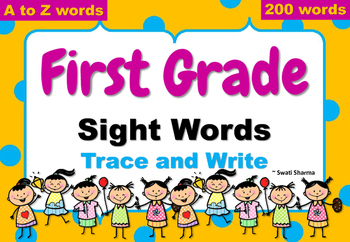 1st Grade Sight Words Trace and Write, Handwriting Worksheets, No Prep Sub Plan