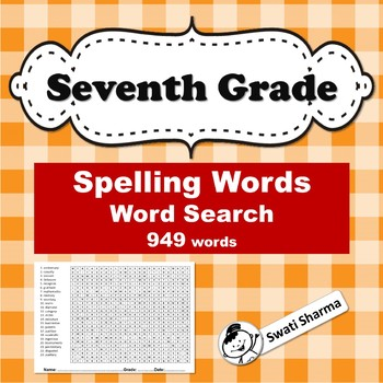 Seventh Grade Year Long, Spelling Words, Word Search Worksheets